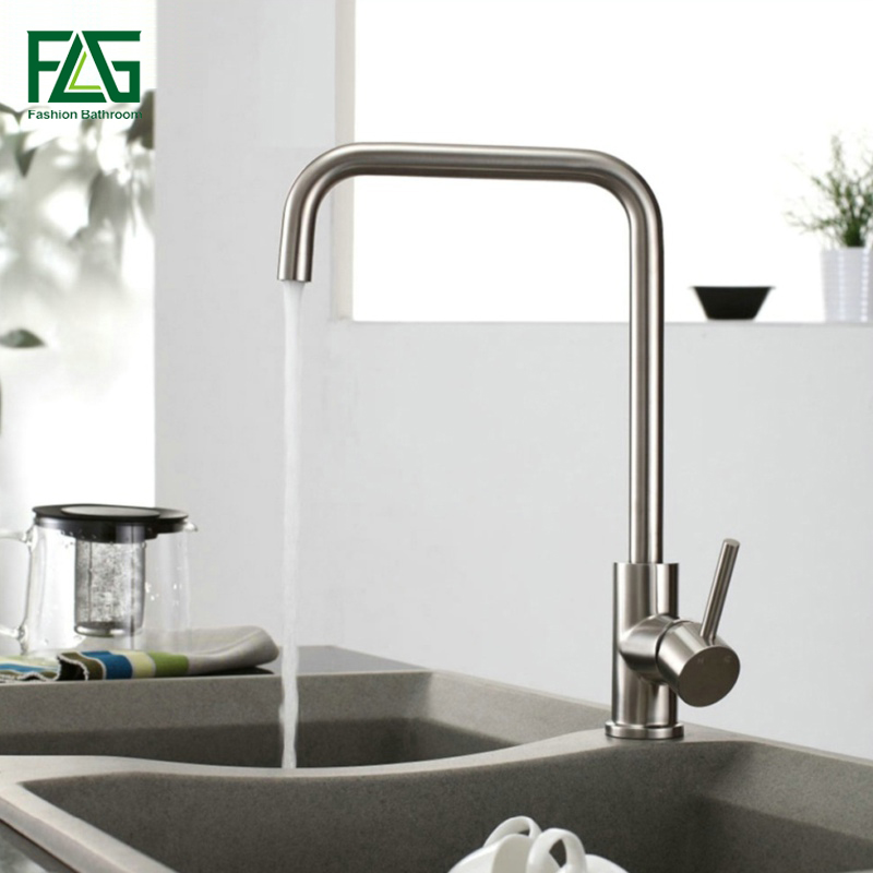 FLG Factory Direct Sale Kitchen Faucet Brushed Nickel 304 Stainless Steel Sink Mixer 360 Degree Rotating