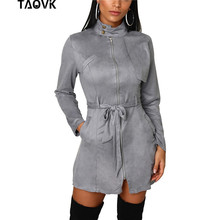 TAOVK Elegant Suede party Dresses Front Zippers A-Line Dress Office Lady stand collar knee-length belted dress