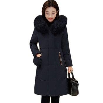 6f93afff2 Alta calidad mujeres grueso Delgado invierno pato blanco abajo abrigos  mujeres abajo chaqueta de moda temperamento capucha chaqueta