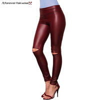 A Forever 2017 Spring Womens LeggingsTrend Fashion Sexy Slim Elasticity Long Pants High Waist Knee Hole Pencil Pants AFF1046