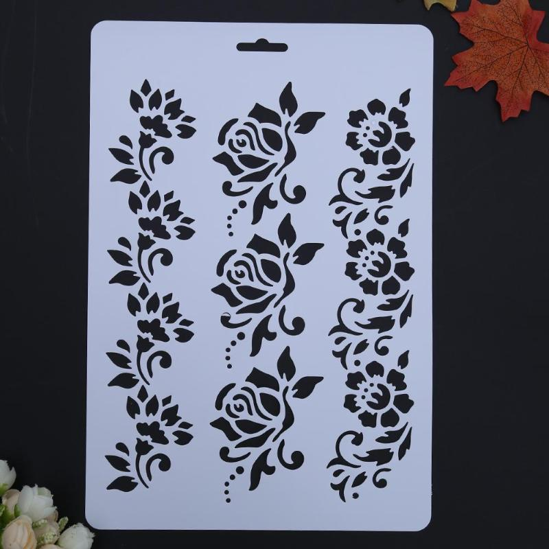 12pcs Kids Datura Flowers Drawing Molds Plastic Children Painting Stencils Diy Paper Art Craft Card Label Scrapbook Bookmark Home