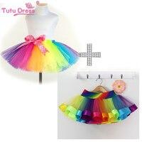 Girls Pettiskirt Baby Tutu Skirts Tulle Puffy Skirts Toddler Infant Short Cake Skirt Children Princess Rainbow