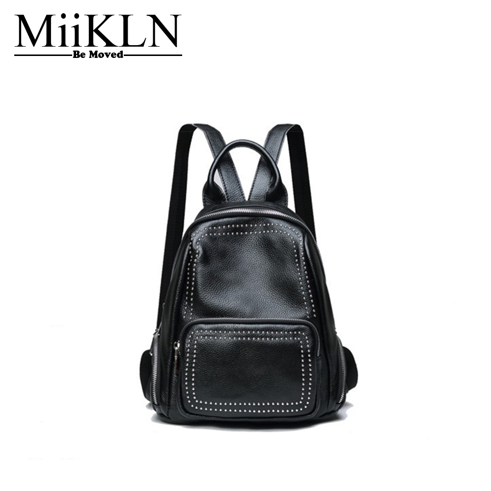 MiiKLN Women Backpack Genuine Leather Back Red Grey Fashion Design Ladies Travel Back Pack Rivet Backpack For Women Ladies fashion design women backpack leather star rivet black female youth satchel