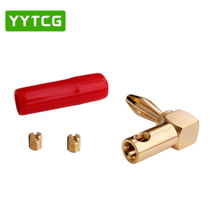 Image 4 - YYTCG 8Pcs Right Angle 90 Degree 4mm Banana Plug Screw L Type for Binding Post Amplifiers Video Speaker Adapter Connector