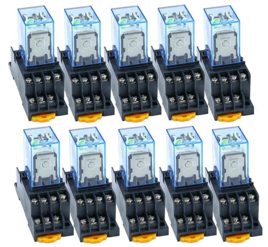 10PCS MY4NJ DC12V AC12V DC24V AC24V  Coil 5A 4NO 4NC Green LED Indicator Power Relay DIN Rail 14 Pin time relay with socket base10PCS MY4NJ DC12V AC12V DC24V AC24V  Coil 5A 4NO 4NC Green LED Indicator Power Relay DIN Rail 14 Pin time relay with socket base