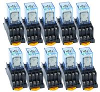 10PCS MY4NJ DC12V AC12V DC24V AC24V Coil 5A 4NO 4NC Green LED Indicator Power Relay DIN Rail 14 Pin time relay with socket base