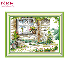 The quiet out of the window landscape painting home decor counts print on canvas Cross Stitch Kit DMC embroidery needlework Sale