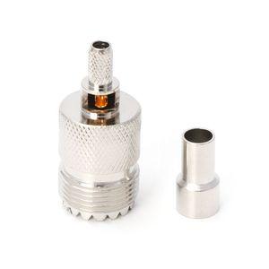 Image 3 - 10 zestawów UHF żeńskie gniazdo SO239 zaciskane złącze RF Adapter koncentryczny dla RG58 RG142 RG400 LMR195 kabel qiang