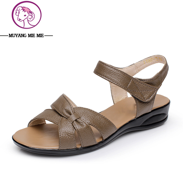 Plus Size (32-43) Flat Summer Sandals For Women 2015 Mother Shoes Genuine Leather Nurse Shoes Flat Maternity Shoes Women Sandal