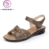 Big Size 32 43 Women Flat Sandals 2017 Genuine Leather Female Flat Summer Shoes Flat Materity