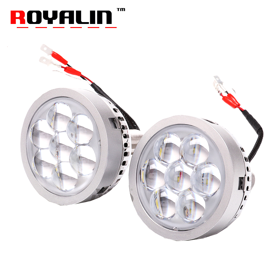 ROYALIN Car Styling LED High Light Projector Lens Mini Auto Hi Beam Head Light White Red Blue Devil Eyes for H1 H4 H7 9005 Bulbs royalin car styling hid h1 bi xenon headlight projector lens 3 0 inch full metal w 360 devil eyes red blue for h4 h7 auto light