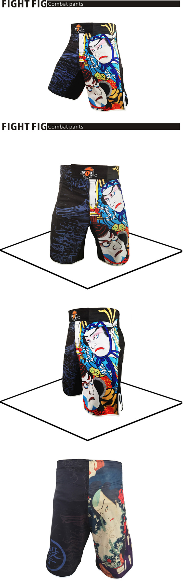 Real-Printing Boxing Shorts MMA grappling Fight Boxing MMA Sanda Muay Thai New
