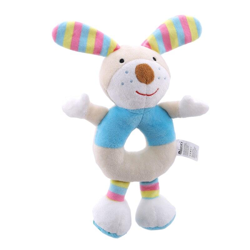 Children Plush Toys Baby Cute Animal Cartoon Powder Pig Puppy Hand Rattle Ball Plush Toys Crib Hanging Plush Dolls