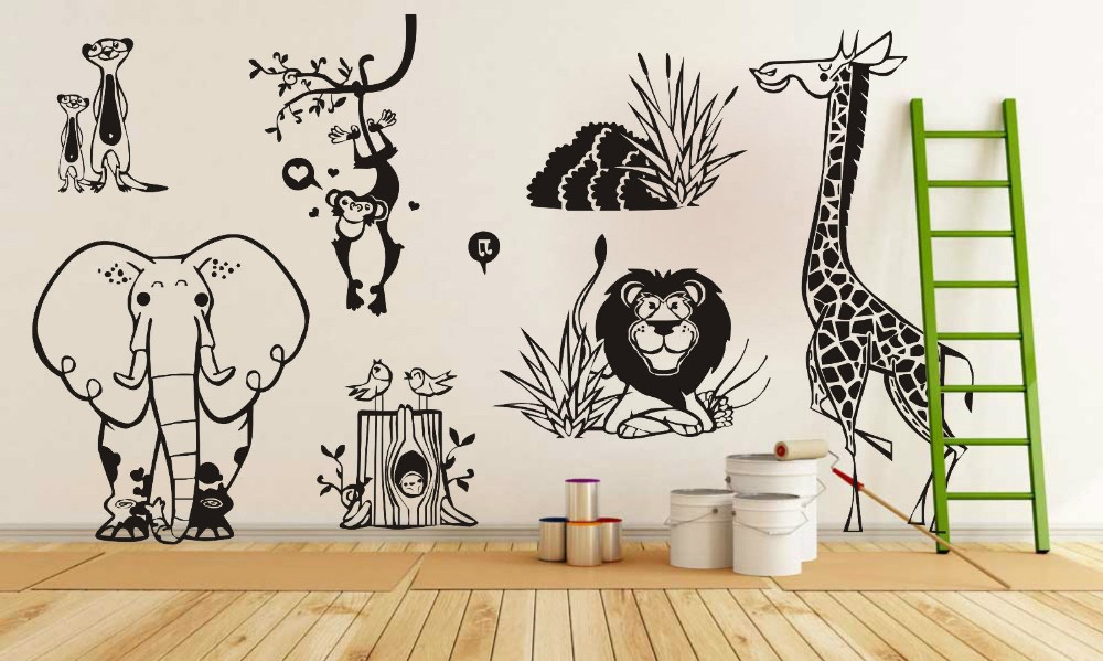 Free Shipping Diy Vinyl Sticker Jungle Animal Zoo Living Wall Stickers Kids Home Decal Removable