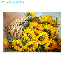 yellow floral Sunflower Diamond Painting Full Round Oil painting style New DIY Sticking Drill Cross Embroidery 5D simple