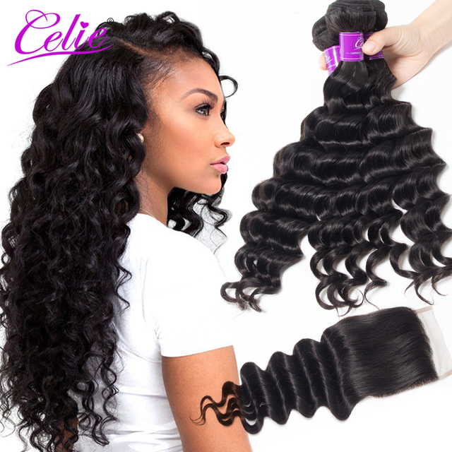 Celie Hair Brazilian Loose Deep Wave Bundles With Closure Remy Hair