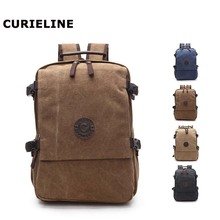 Outdoor leisure double shoulder men canvas laptop backpack bag mochila