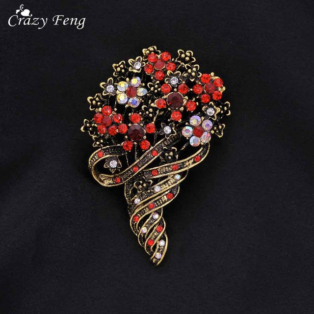 Crazy Feng New Women Vintage Bouquet Brooch Antique Gold Color Crystal Rhineston