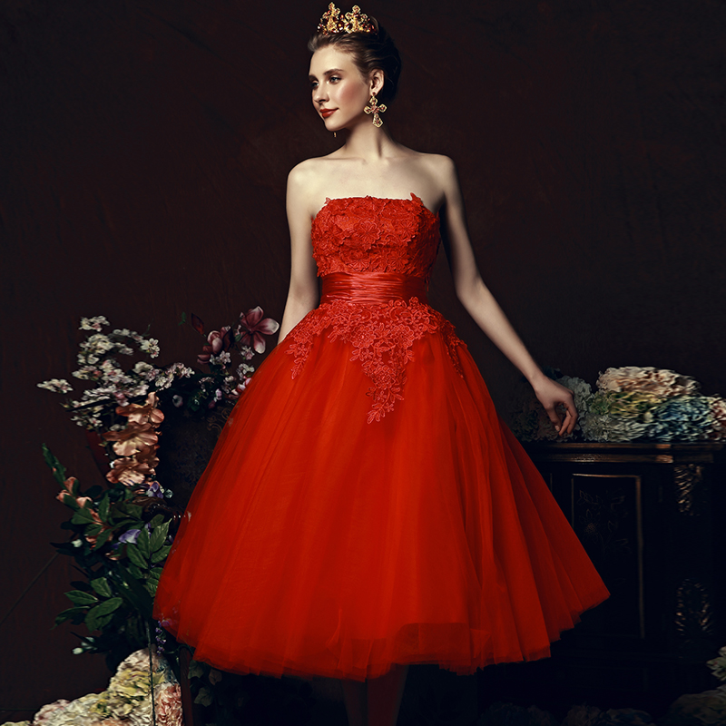 Tea Length Red Homecoming Dresses A Line Cute Dresses For Juniors