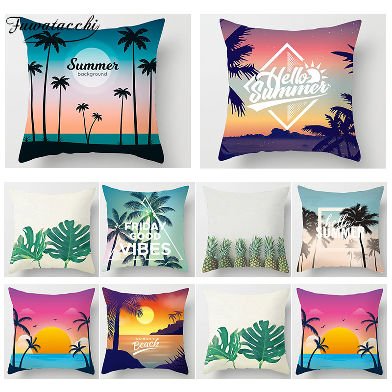 Fuwatacchi Tropical Beach Decorative Pillows Cover Cactus Pineapple Flower Pillow Case Sofa Home Decor Cushion Cover 450*450