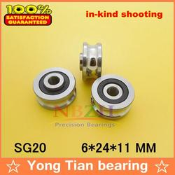 10PCS SG20 2RS U Groove pulley ball bearings 6*24*11 mm R4U Track guide roller bearing SG6RS (Precision double row balls) ABEC-5