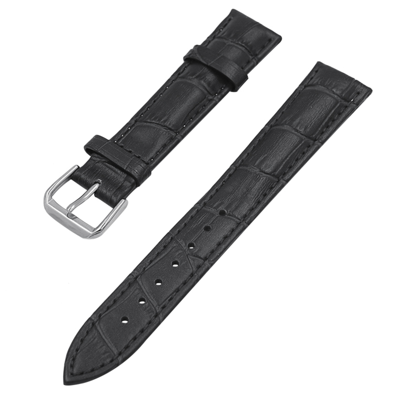 High quality Waterproof Black Genuine Leather Watch Band Cow Stainless Steel 20MM Leather Watch Strap Brown with Black Buckle стоимость