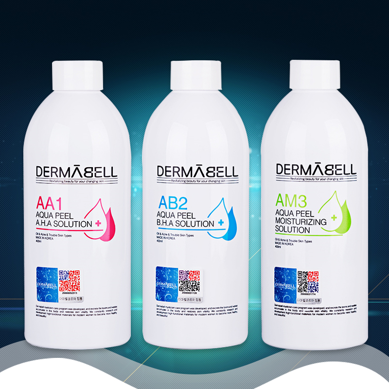 DERMABELL Aqua Peeling Solution AA1 AB2 AM3 400ml Per Bottle Aqua Facial Serum Hydra Facial Serum For Normal Skin