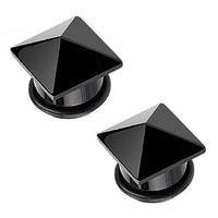 1 pair Agate pyramid Earrings black 9/16
