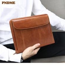 PNDME fashion genuine leather mens womens clutch bag brown vintage business A4 large capacity multi card cowhide ipad bags
