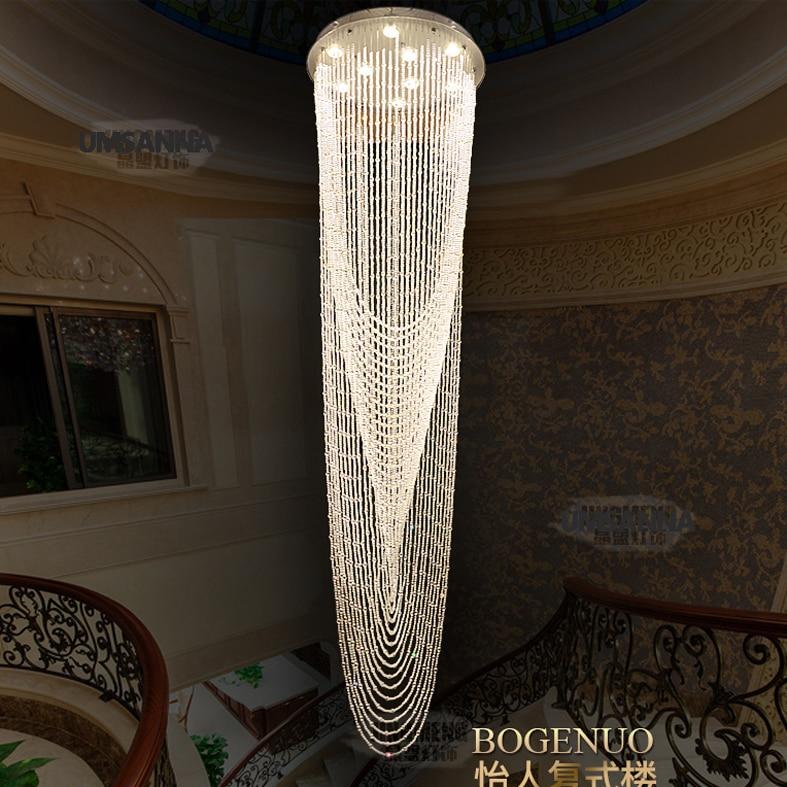 LED Moderní lustrové osvětlení Křišťálové lustry Svítidla Svítidlo Velká dlouhá kulatá křišťálová závěsná lampa Domácí interiérové osvětlení