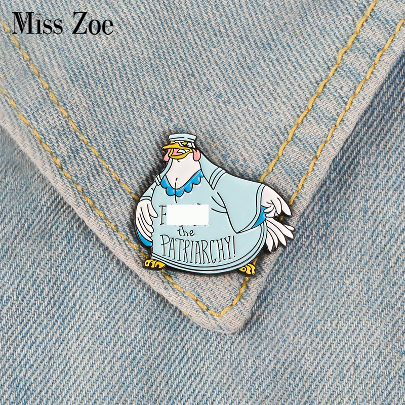 F the Patriarchy Enamel Pin Feminist Badge Custom Cartoon Hen Brooches Bag Clothes Lapel pin Gender equality Jewelry Gift 1