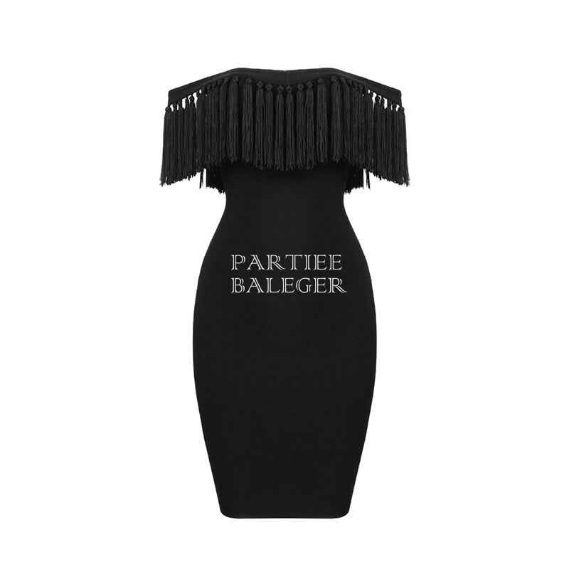Robe Club Nouvelle Bandage Shoulder Genou Noir Manches Courtes dessus Du Mode Off La Sexy Celebrity Glands The 2019 Arrivée Embelli Party À RUqCqSw