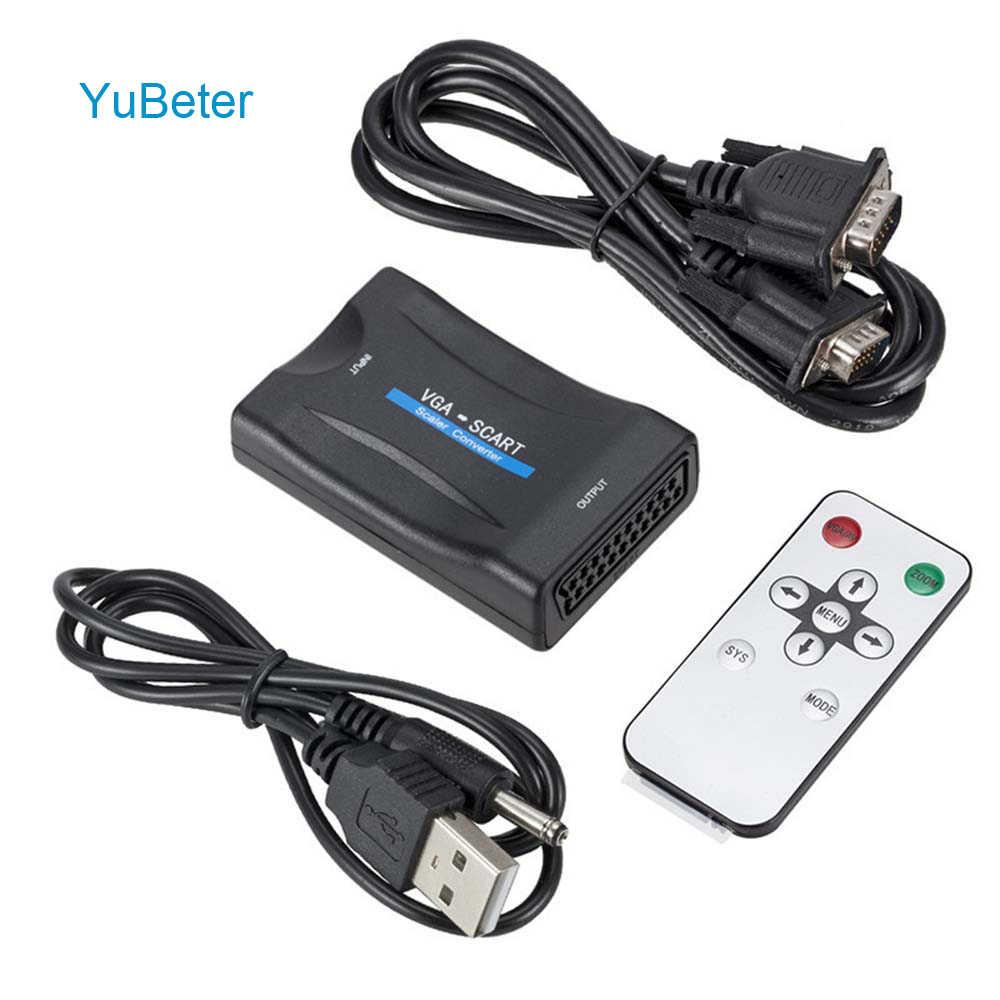 YuBeter VGA to Scart Converter Adapter Video Audio AV Signal Receiver for VHS CRT VCR TV DVD US/EU/AU/UK Power Plug Optional