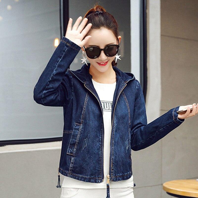 Pilot Denim Jacket Women Basic Jacket Coat Hooded Outwear Slim Short Warm Overcoats Denim Female Coats & Jackets Tops No302