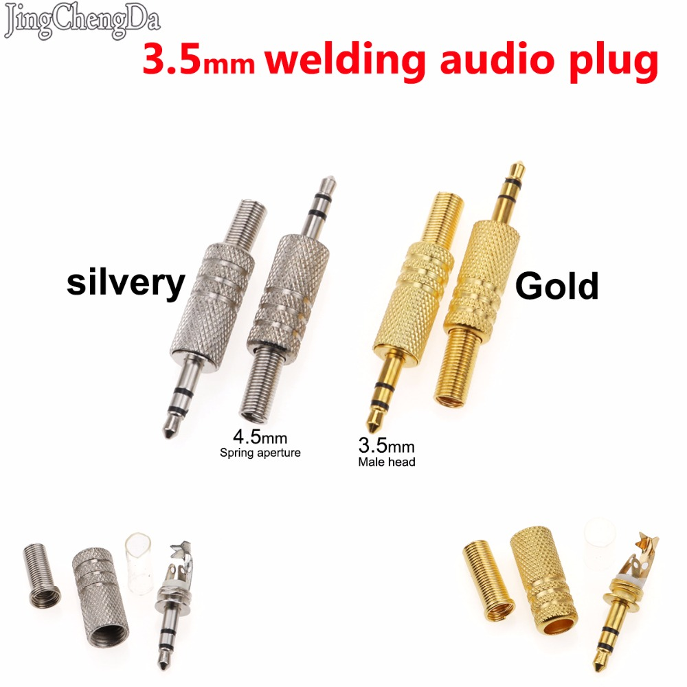 Dependable Jcd New 3.5 Mm 3 Male Poles Reparation Headphones Audio Jack Plug Connector Solder Cover Silver 3.5mm Spring Adapter Silver Low Price Computer & Office