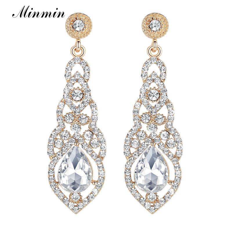 Minmin Teardrop Big Crystal Gold Color Earrings for Women Brides Drop Dangle Long Earrings for Wedding Accessories Gift EH444