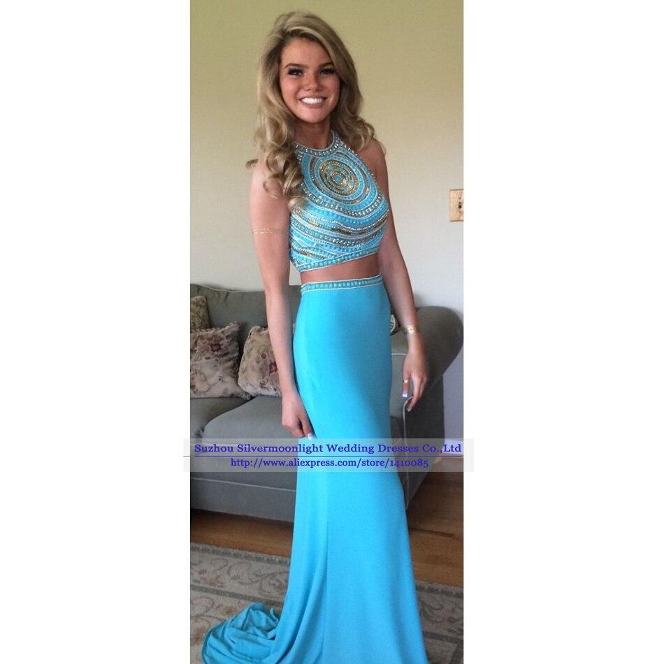 vestido de festa 2015 Formal Evening Dress Sparkly Crystal Beaded ...