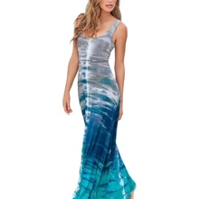 Women Casual Beach Dresses Spring Summer Sleeveless O-Neck Long Maxi Vintage Retro Dress Plus Size