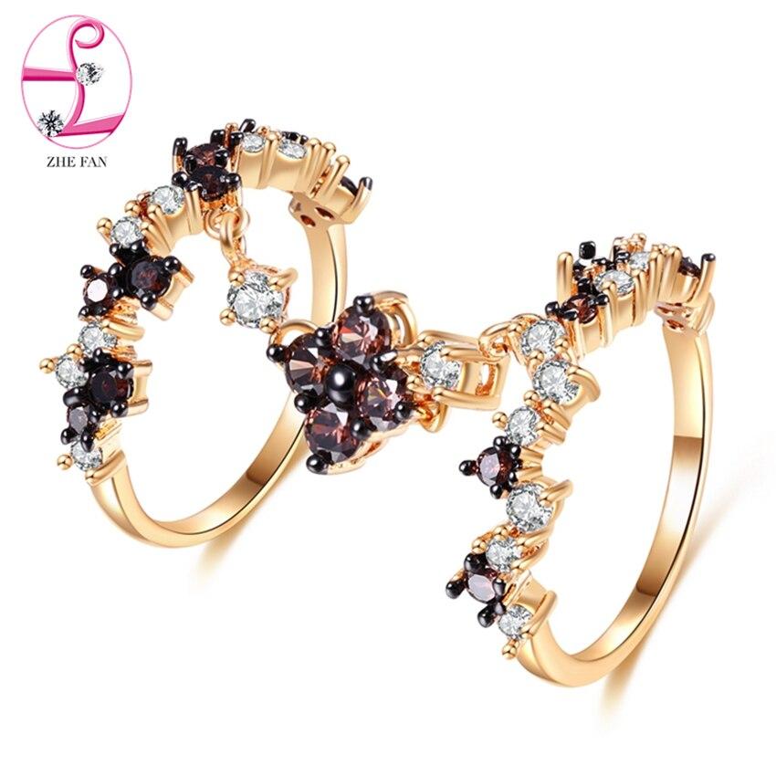 ZHE FAN Vintage anneaux de mariée noir Champagne couleur or placage de noël deux ensemble anneaux pour femmes bijoux taille 6 7 8 9 vente en gros
