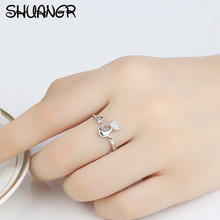 Cute Cat Design Cubic Zirconia Crystal Inlaid Ring