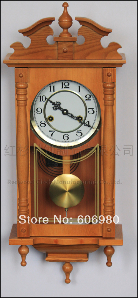 Buy european style fashion wood mechanical pendulum art clock classical wooden - Stylish pendulum wall clock ...
