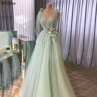 Long Evening Dress 2018 Real Sample Elegant A line Mint Green Arabic Style Women Formal Evening Gowns robe de soiree