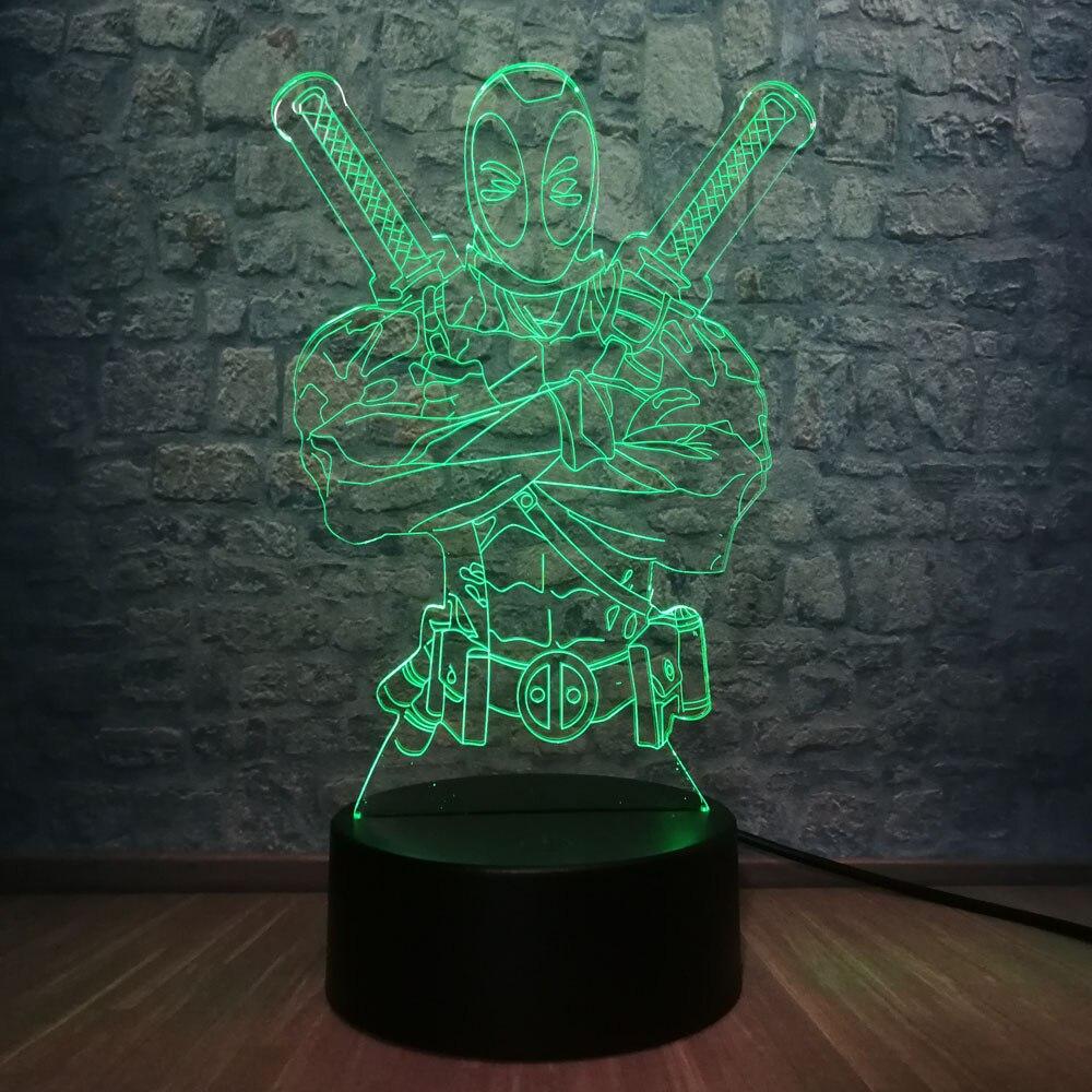 3D LED Night Light Marvel Deadpool Cool Hero RGB Lampara