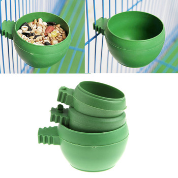 New Arrival Parrot Mini Food Water Bowl Feeder Plastic Birds Pigeons Cage Sand Cup Feeding APR18 image