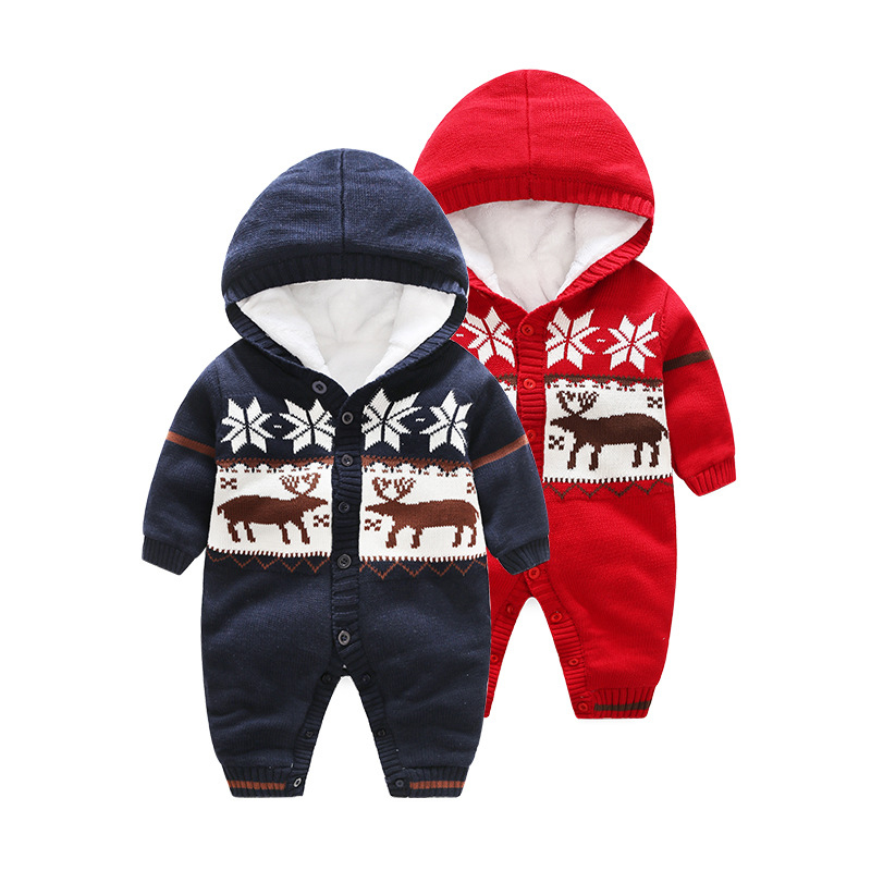 цена Baby Christmas Rompers Winter Jumpsuit Fleece Romper For Boys Clothes Warm Newborn Baby Girls Clothing Infant Bebe Costumes