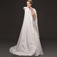 FOLOBE Ivory Faux Fur Poncho Shawls Warm Winter Wedding Long Cape Cloak Women Evening Party Wraps Bridal Long Bolero