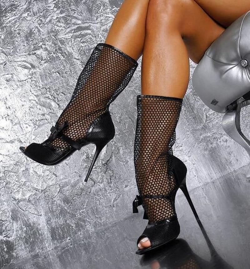 Noir Blub Peep Nuit Serpent En Talons De Pour Bottes Mi Picture Maille Habillées Chaussures Toe Sexy Bottines Chaussette mollet Femmes Peau Cuir As fwU5gUq