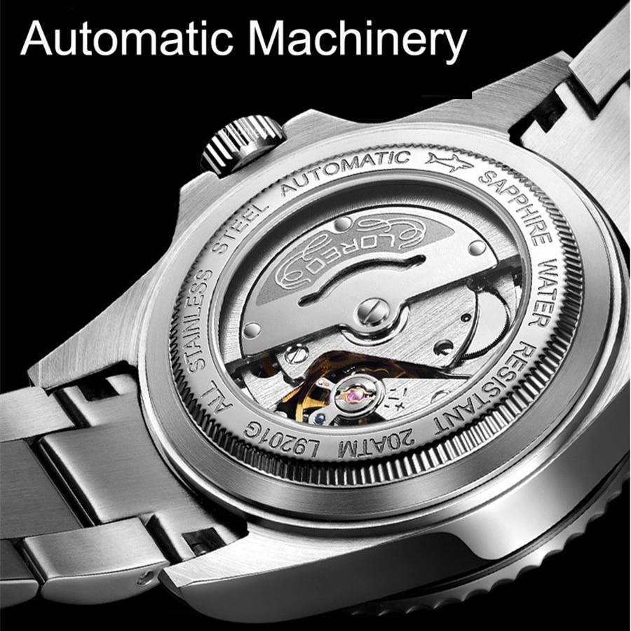 Nowy LOREO wody duch serii klasyczny niebieski Dial luksusowe automatyczne zegarki męskie ze stali nierdzewnej 200 m wodoodporny zegarek mechaniczny zegarek w Zegarki mechaniczne od Zegarki na  Grupa 2