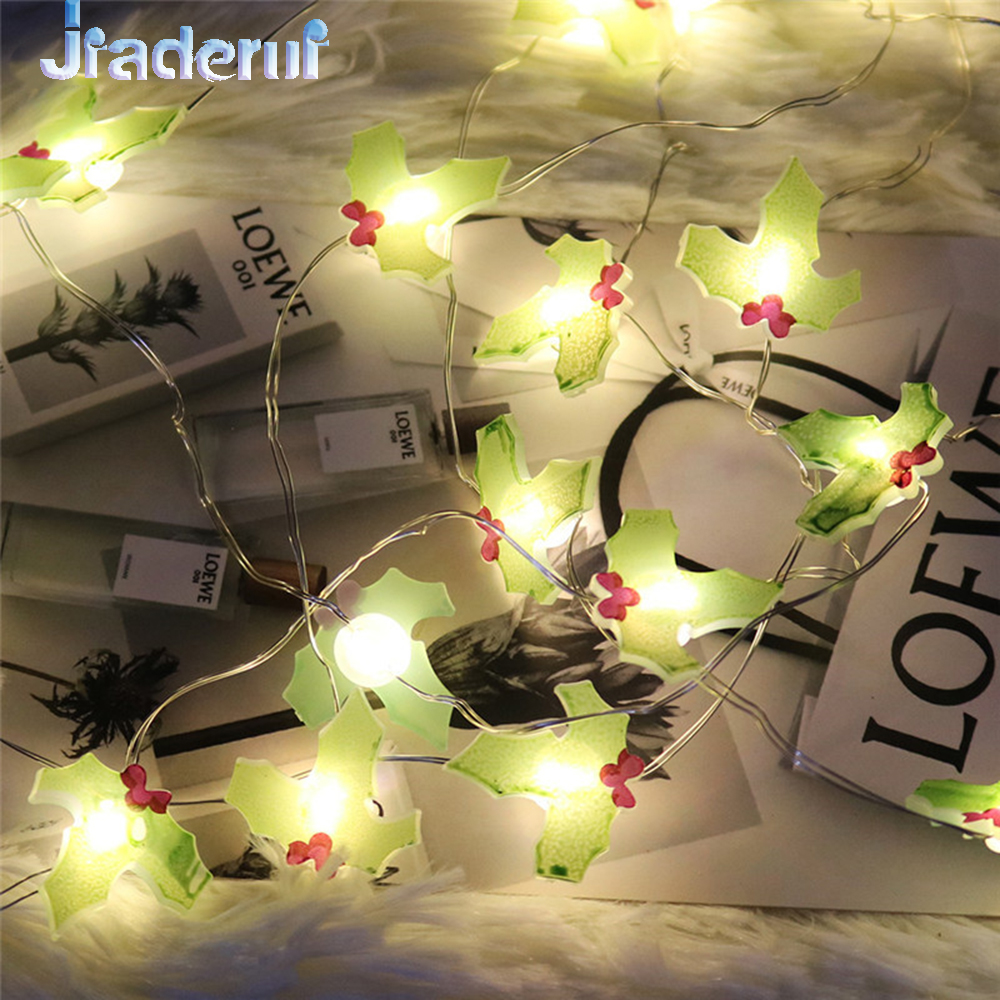 Jiaderui 10LED Leaf Shape Garland Lights String Home Decoration Light New Years Lights Christmas Party Decoration Battery Power