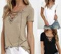 Mulheres T-shirt V Profundo Bandagem Pescoço Camisas Femme Lace-up Longos Das Senhoras Da Luva T Tops Roupas Femininas